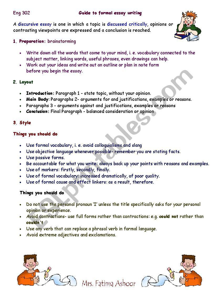 How To Write A Discursive Essay  Esl Worksheet By Hidden Pearl How To Write A Discursive Essay