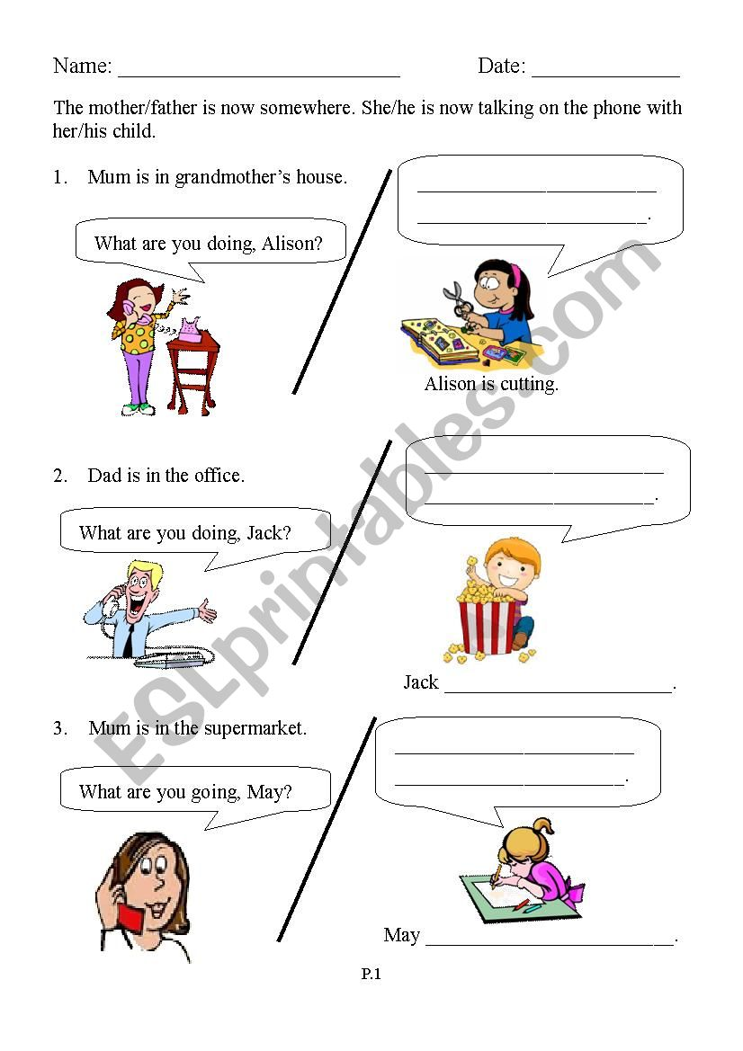 What are you doing?  Part 1 worksheet