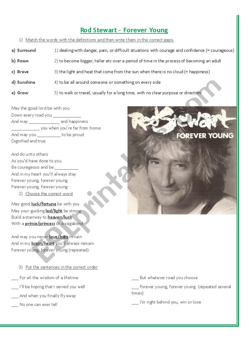 Forever Young - Rod Stewart worksheet