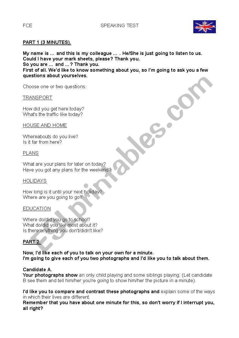 FIRST CERTIFICATE EXAM SPEAKING TEST PART 1