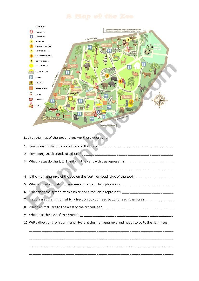 A Map of the Zoo - ESL worksheet by cherryllama Zoo Map Directions Worksheet on zoo map handouts, food worksheet, mapping coordinates worksheet, zoo map rubric, directions worksheet, population density worksheet, calendar worksheet, plan your day worksheet, activities worksheet, history worksheet, event worksheet, animals worksheet, zoo map poster, zoo worksheets for kindergarten, home worksheet, scavenger hunt worksheet,