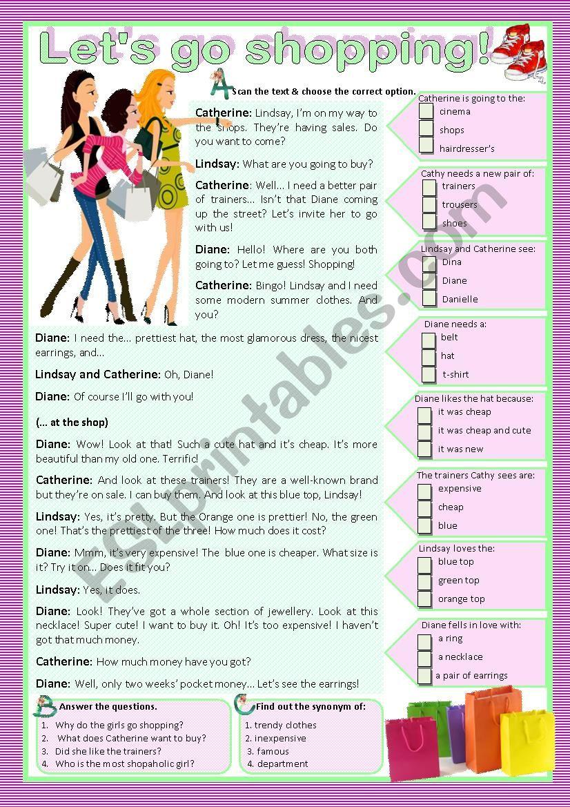LET´S GO SHOPPING! - Reading worksheet