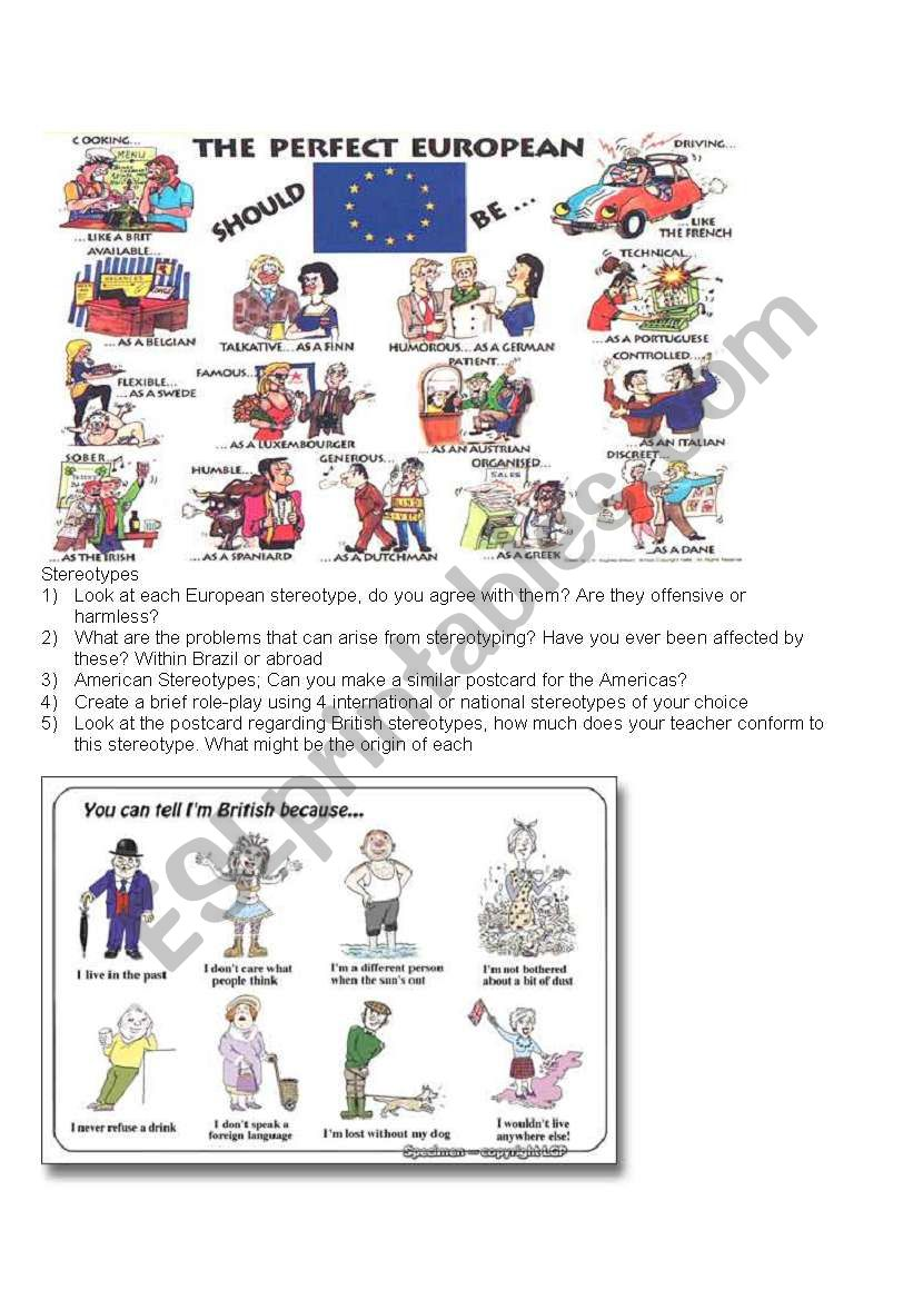 Stereotypes worksheet worksheet