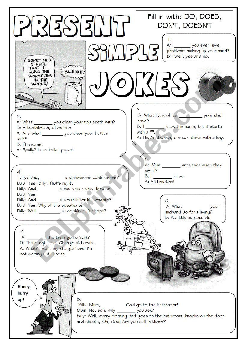 GRAMMAR JOKES (tenses 1/7) worksheet
