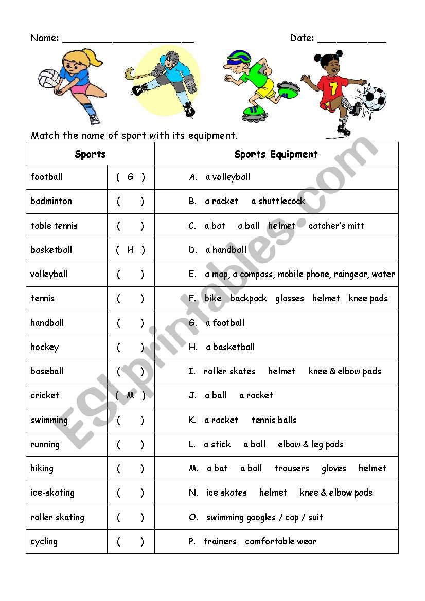 Sports Names and Equipment worksheet