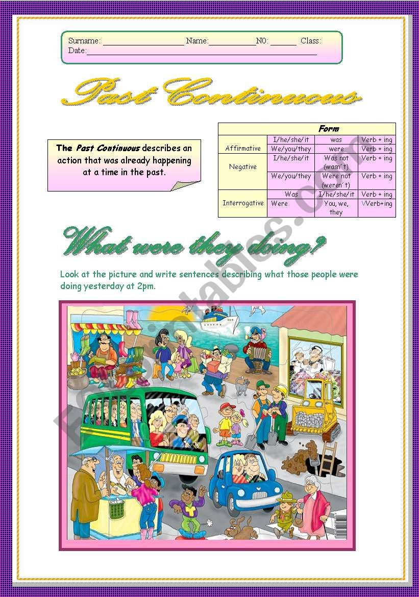 Past Continuous  worksheet