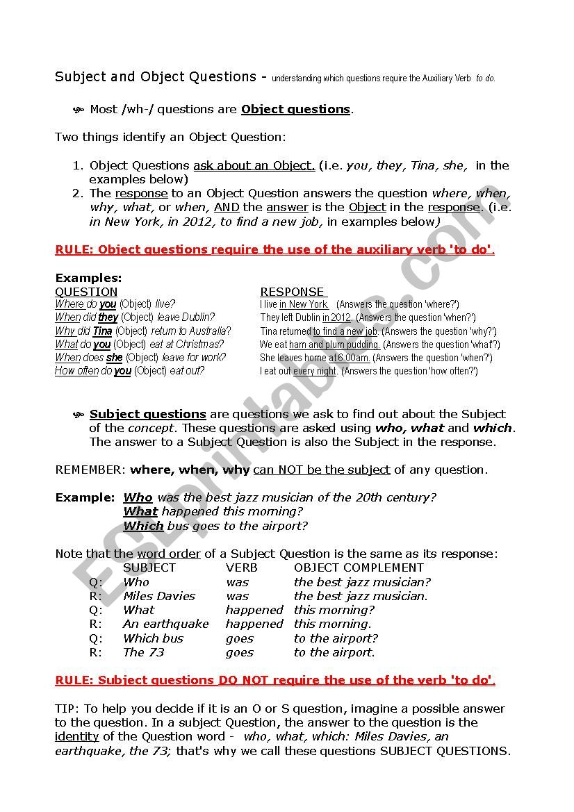 Subject Complement Worksheet With Answers ...