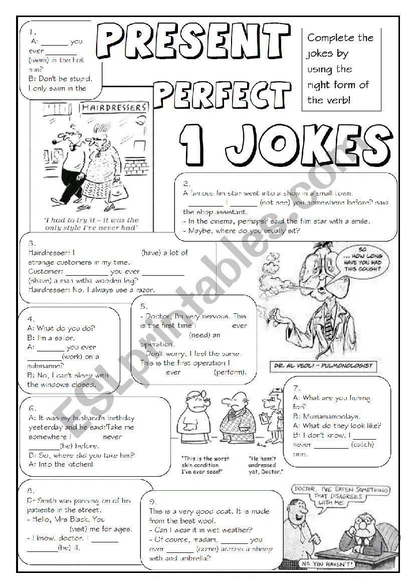 GRAMMAR JOKES (tenses 6/7) worksheet