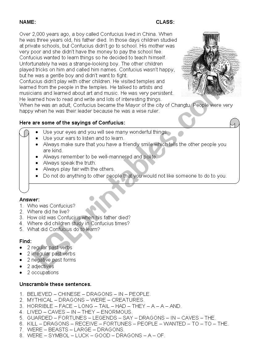 worksheet Confucius Says Worksheet english worksheets confucius worksheet