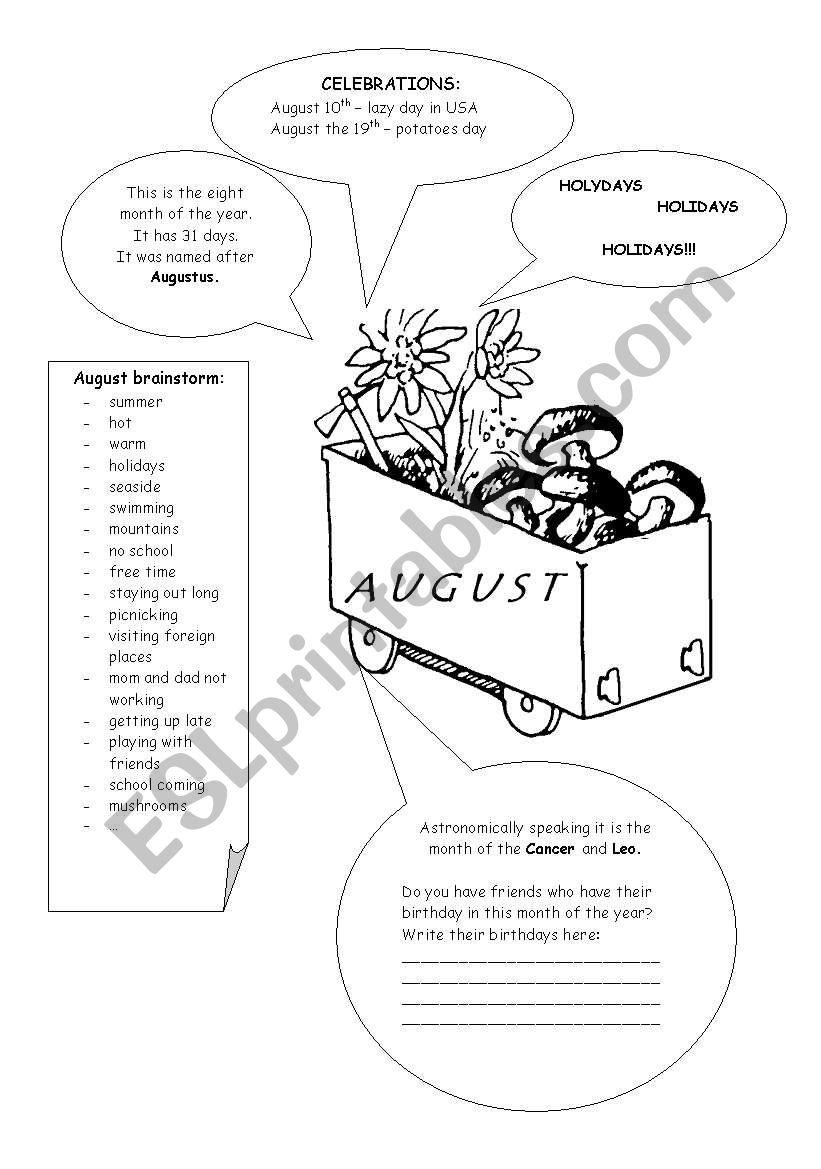 MONTHS - AUGUST - ESL worksheet by boradona
