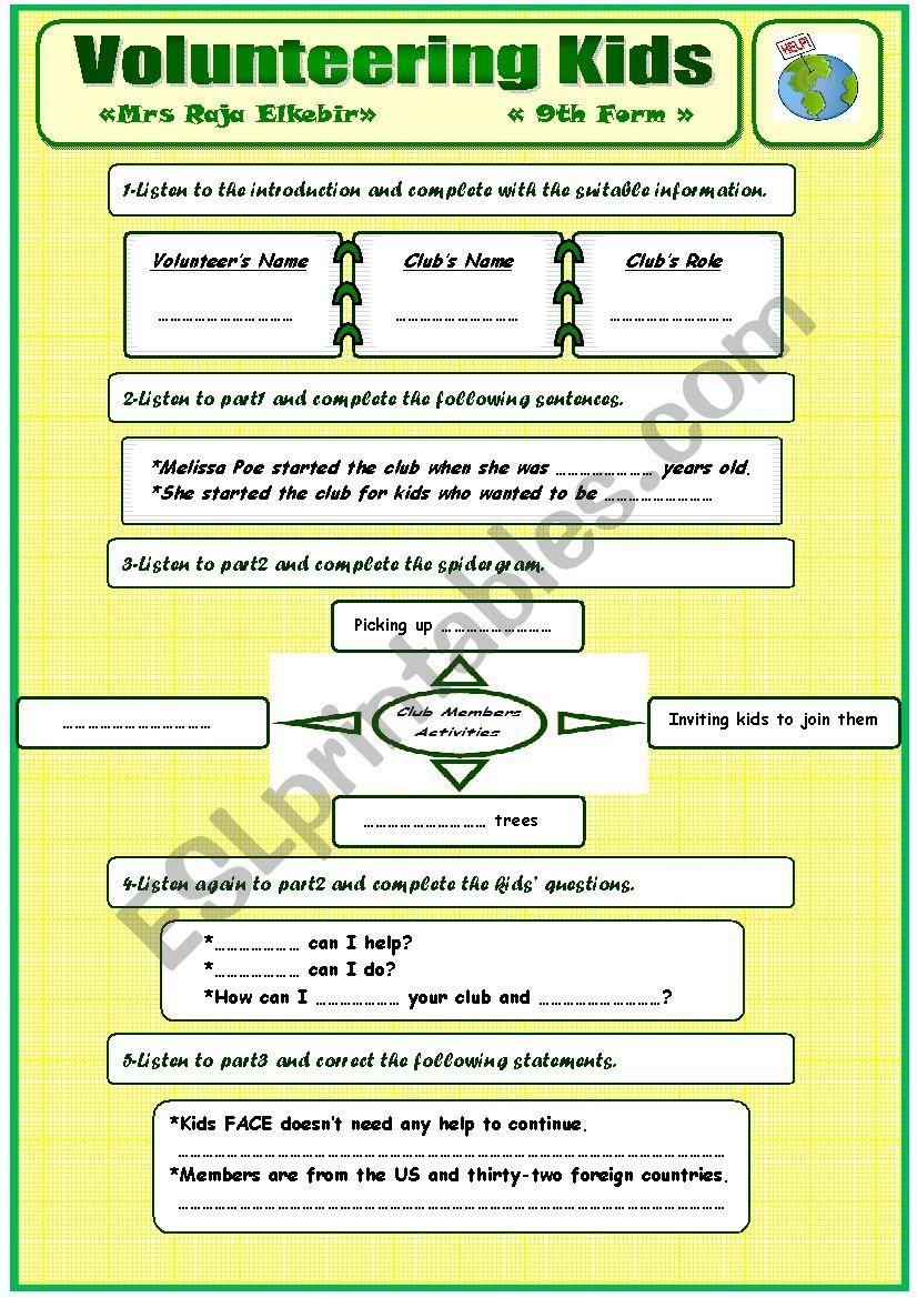 Volunteering Kids - 9th form worksheet