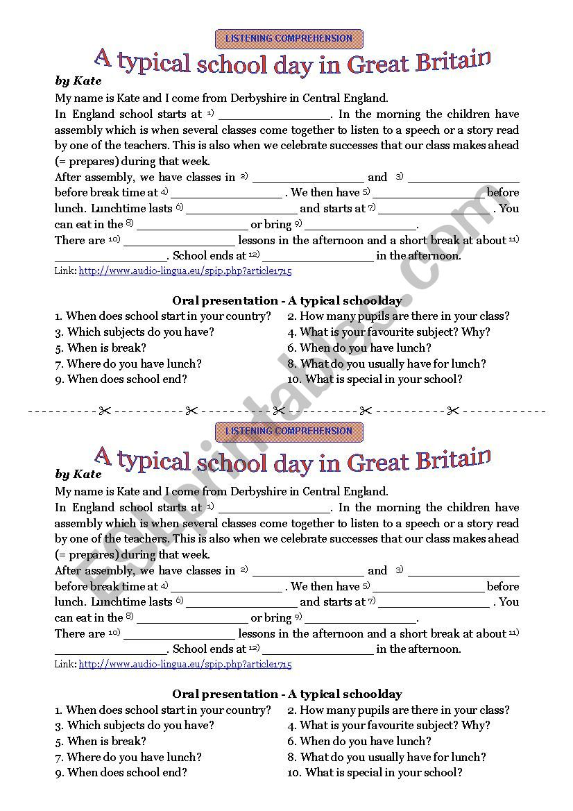 A typical schoolday in Great Britain