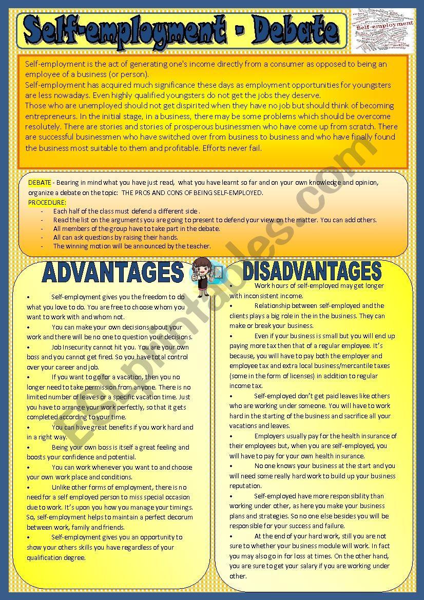 Self-employment- debate worksheet