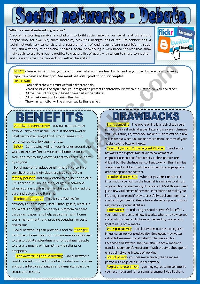 Social networks - debate worksheet
