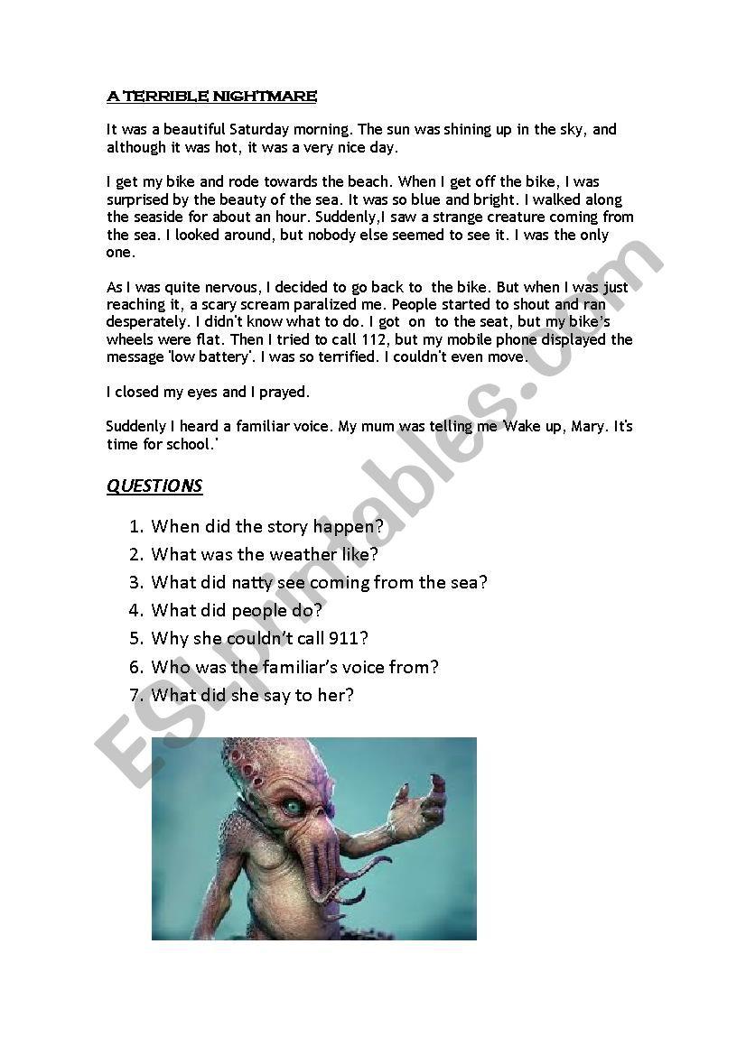A TERRIBLE NIGHTMARE - ESL worksheet by emmawilson