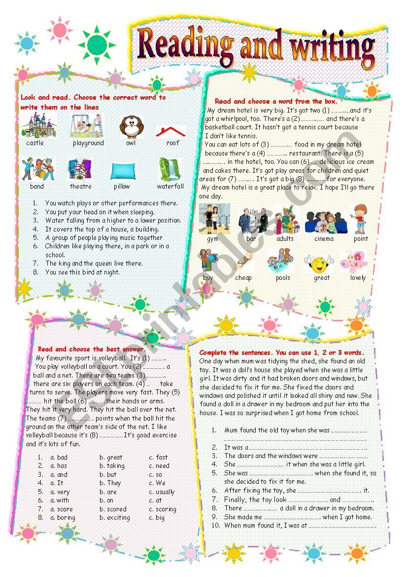 Reading and writing worksheet