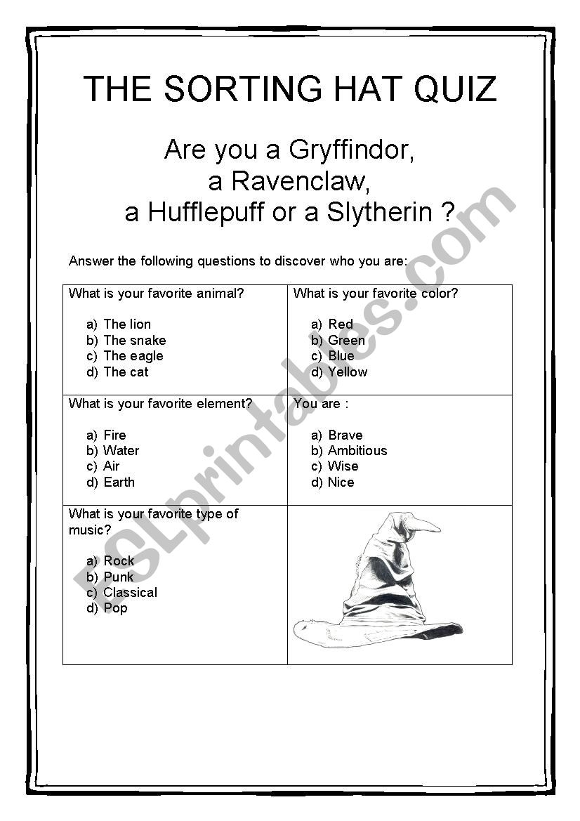 Enterprising image regarding printable sorting hat quiz