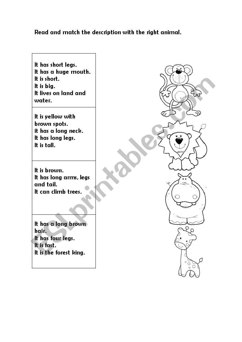 Animals description worksheet