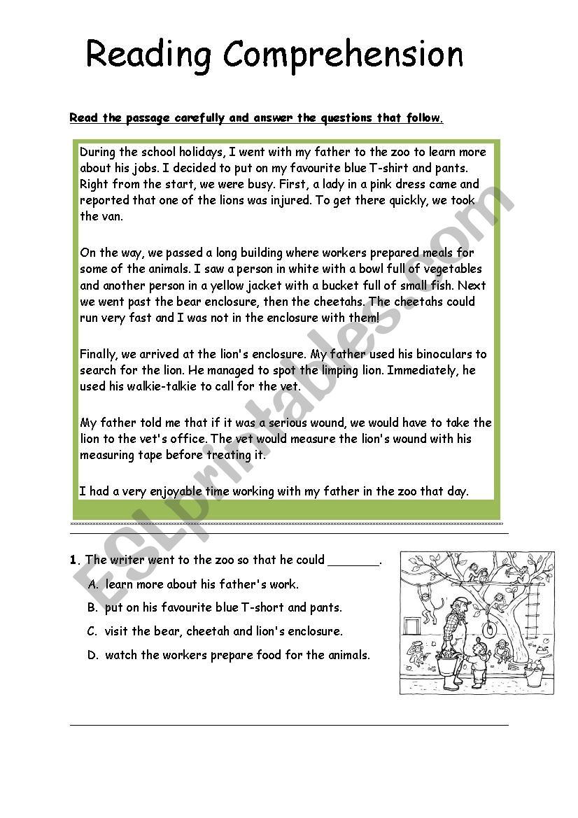 - Reading Comprehensions - ESL Worksheet By Thanima