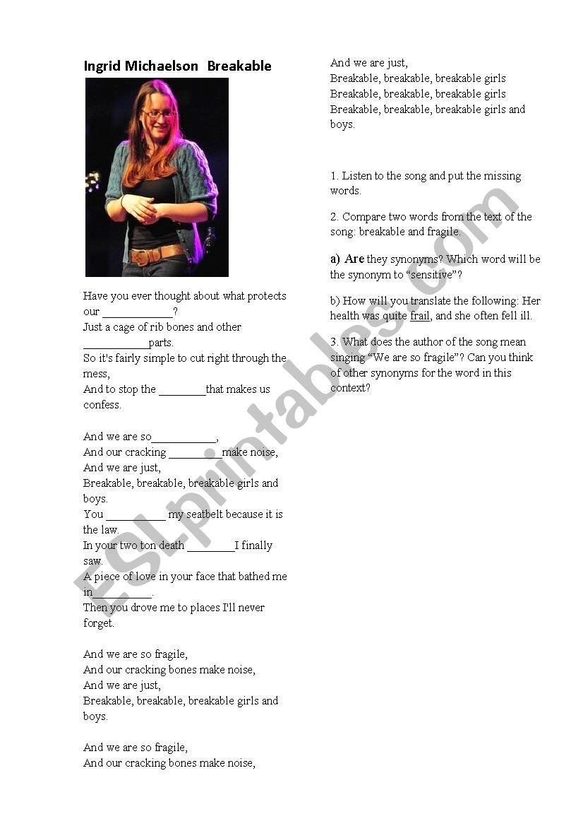 Ingrid Michaelson Breakable - ESL worksheet by Tendershadow