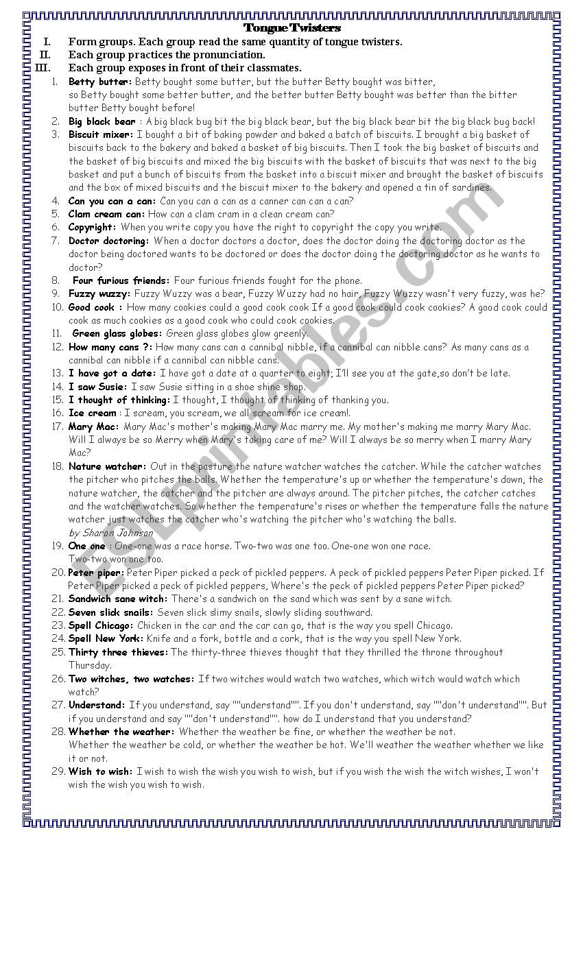 Pronunciation with Tongue Twisters - ESL worksheet by georgellywood
