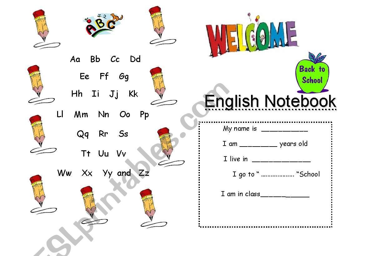 Notebook Cover worksheet