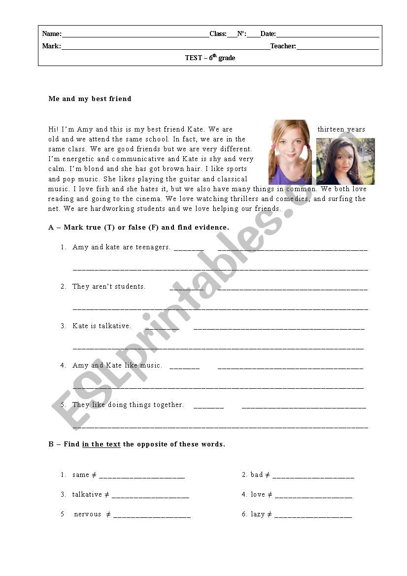 6th grade Test_January worksheet