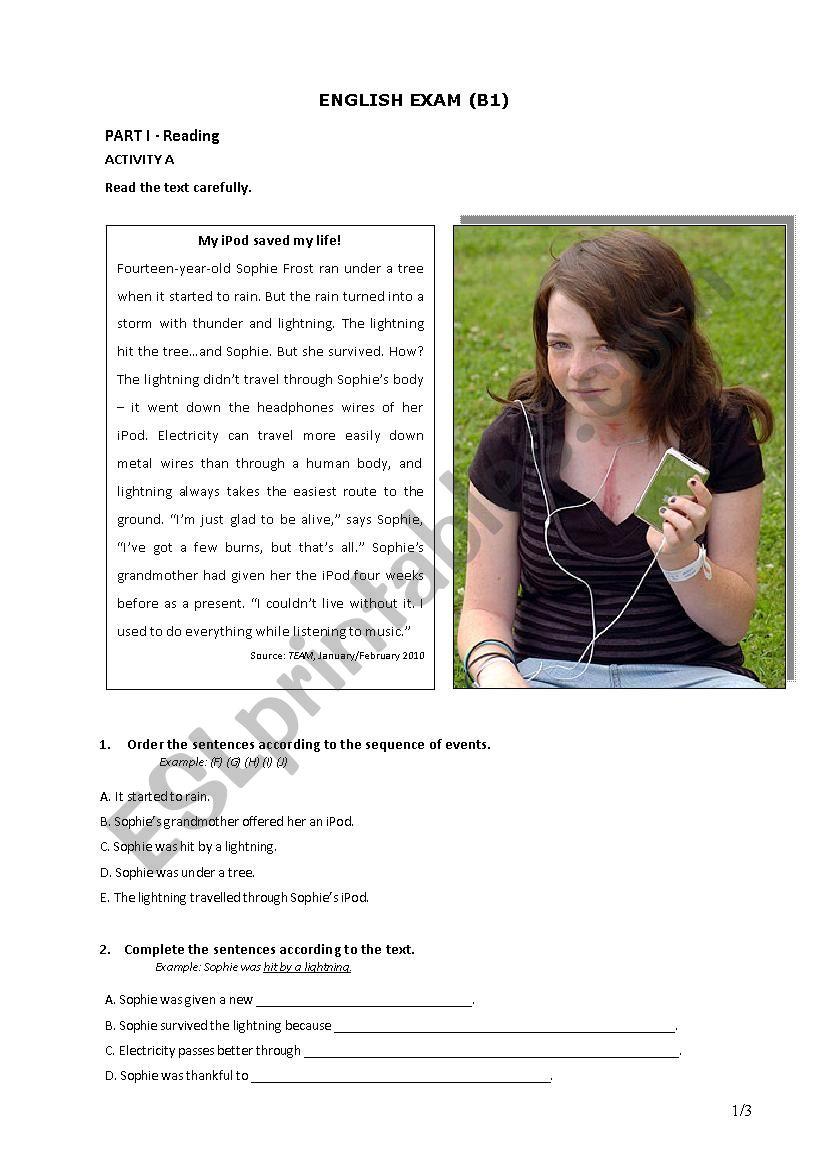 Exam 9th form (B1) worksheet