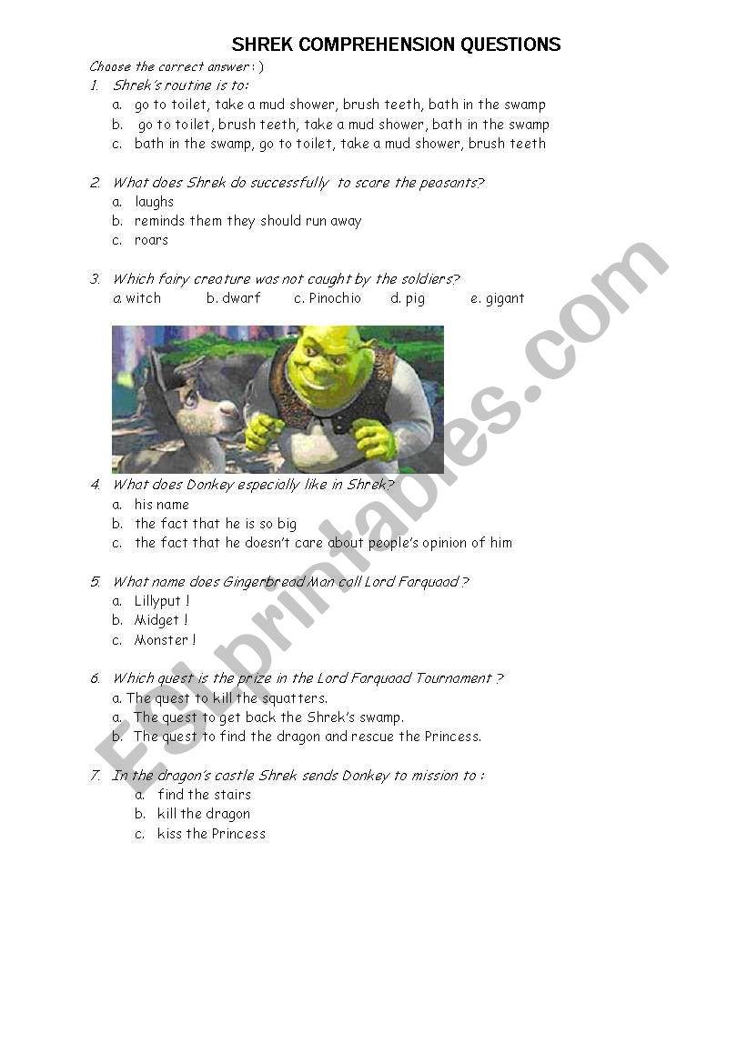 Shrek 1 Comprehension Exercice Esl Worksheet By Kamila0606