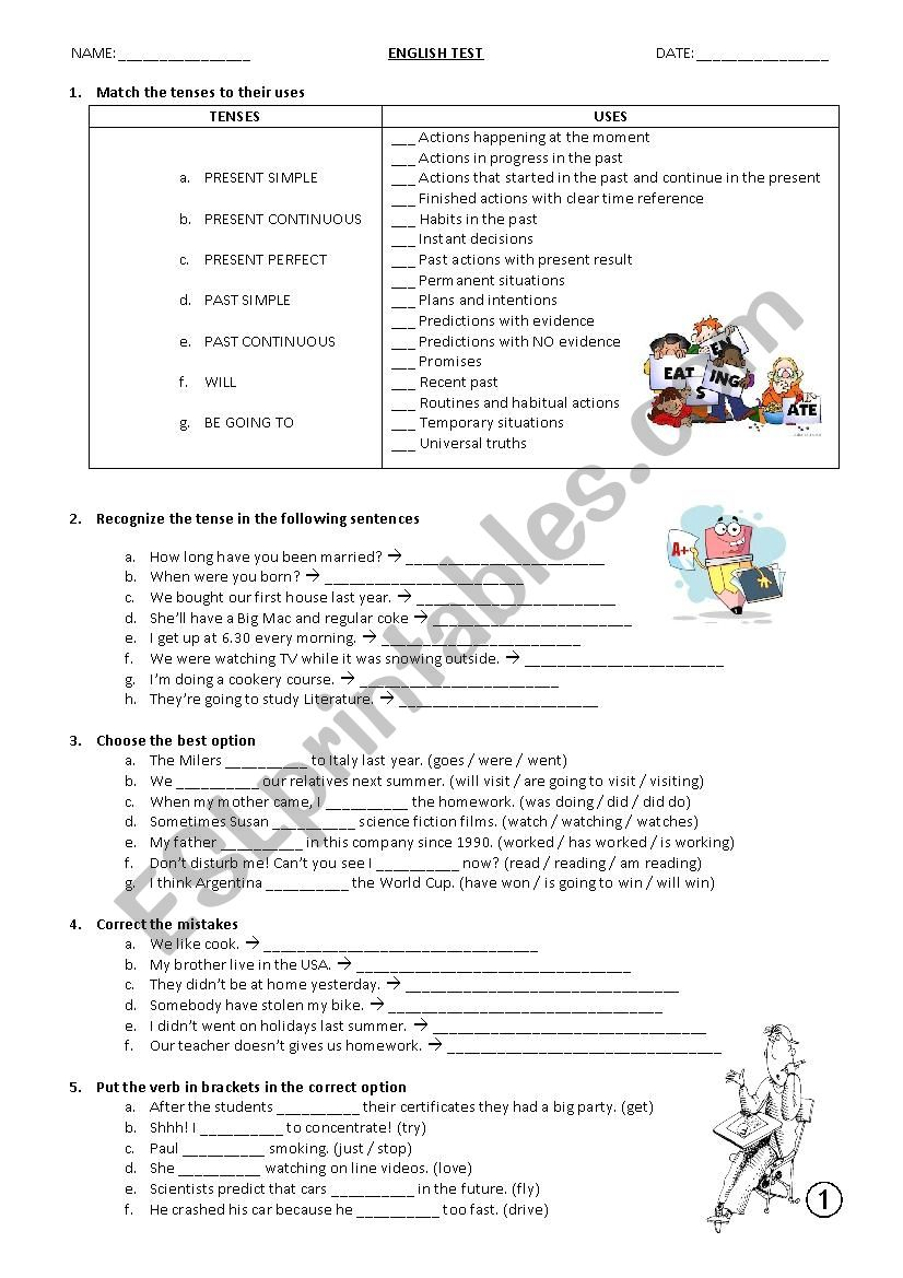 TENSES (Theory and Practice Test) - ESL worksheet by barshu77