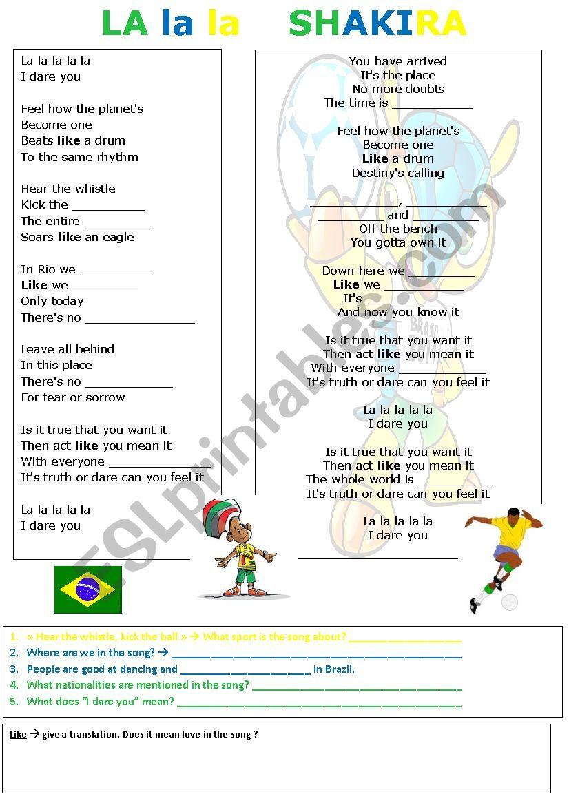 La la la SHAKIRA, official world cup song 2014