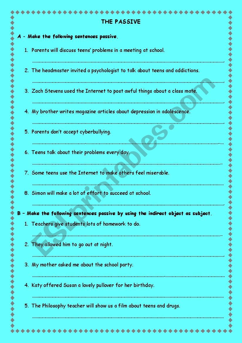 Passive ws worksheet
