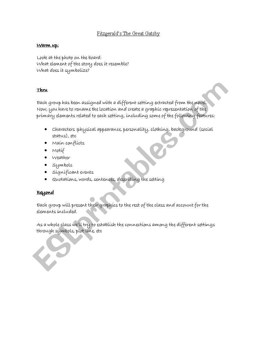 English Worksheets The Great Gatsby Lesson Plan