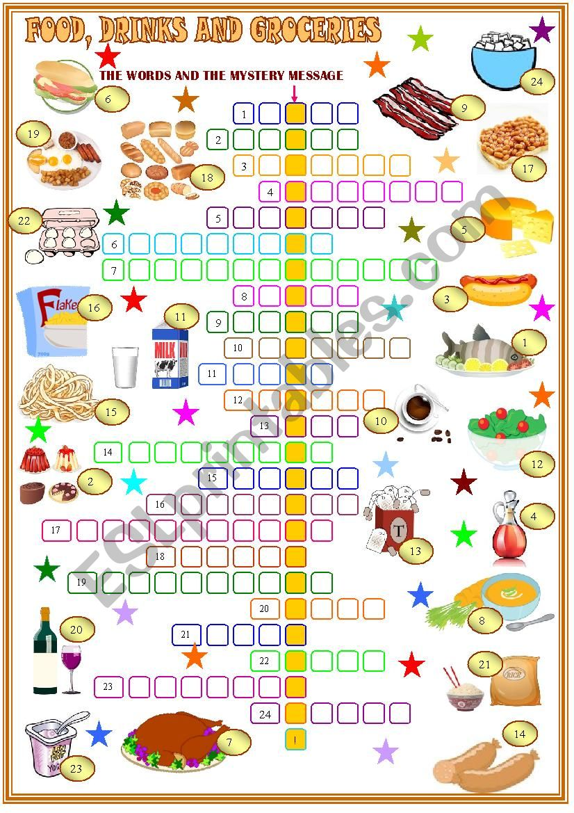 food , and drinks ;crossword puzzle