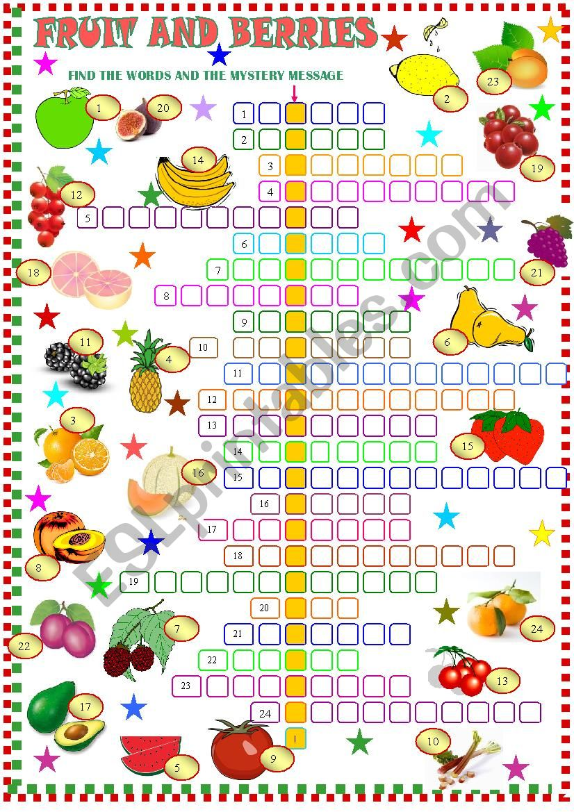 fruit ; crossword puzzle worksheet