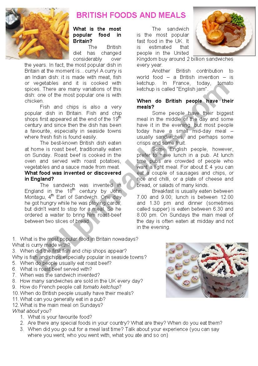 British food and meals worksheet