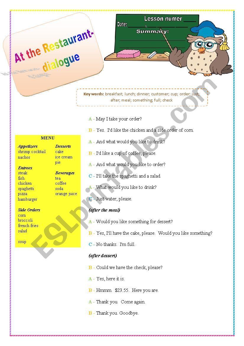 at the restaurant - dialogue worksheet