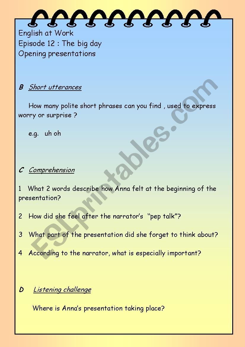 English at Work extra worksheets episodes 11 to 13 - ESL
