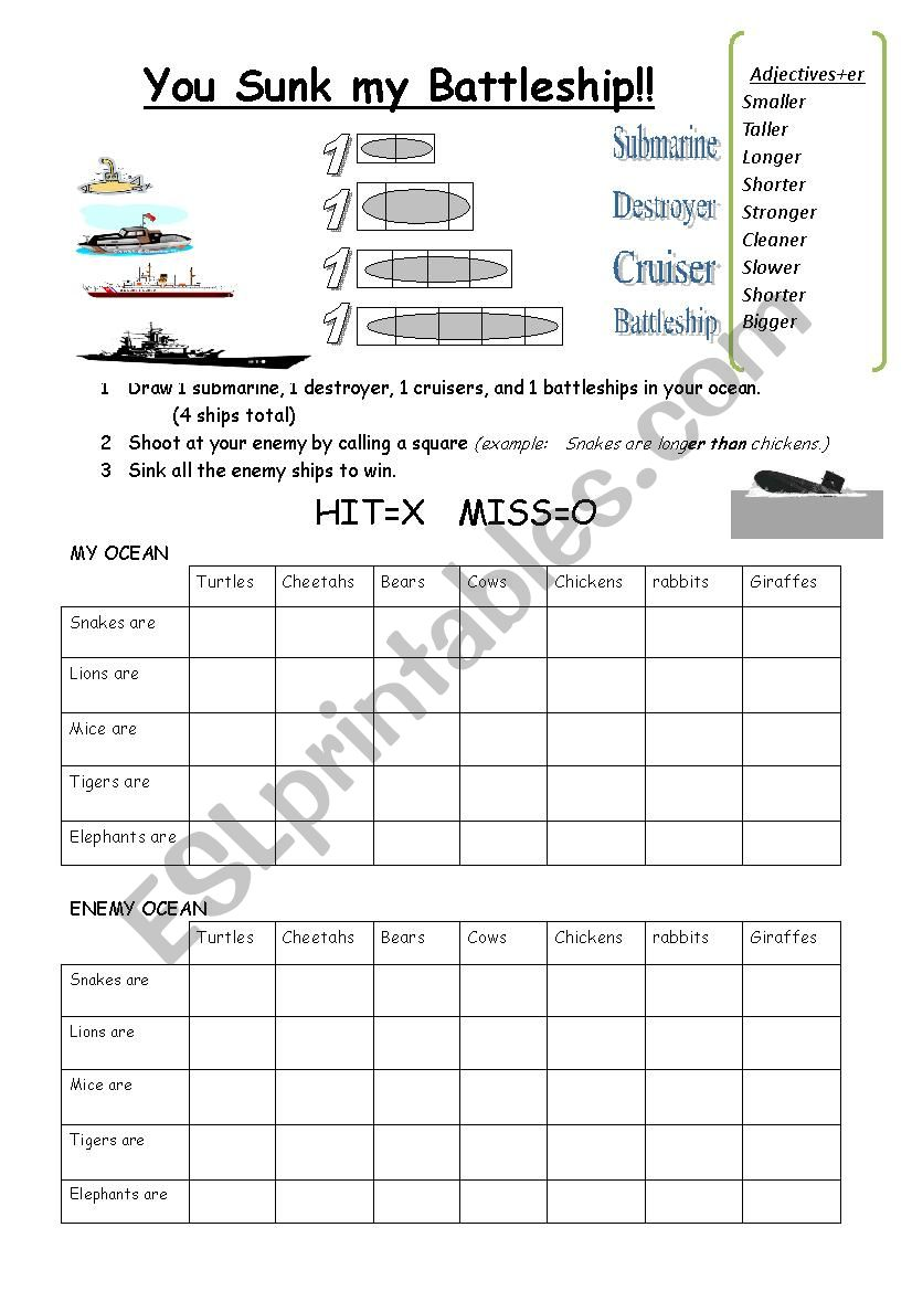 graphic regarding Battleship Game Printable called comparative battleship recreation - ESL worksheet by means of susie02