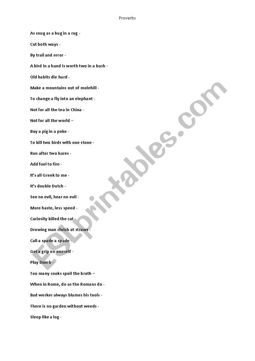 Polish Proverbs Esl Worksheet By Myid3006
