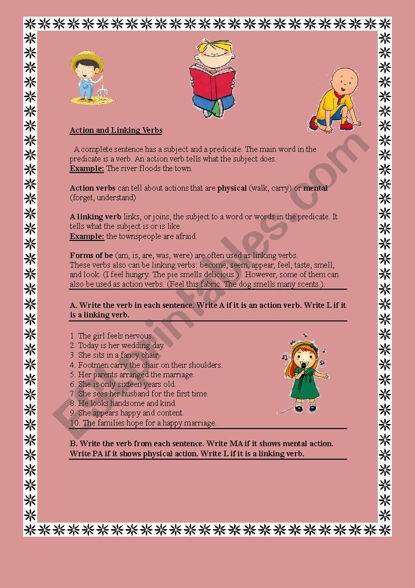 Grammar Action And Linking Verbs Rules And Activities Part 1 Esl Worksheet By Maysam 123 [ 1169 x 826 Pixel ]