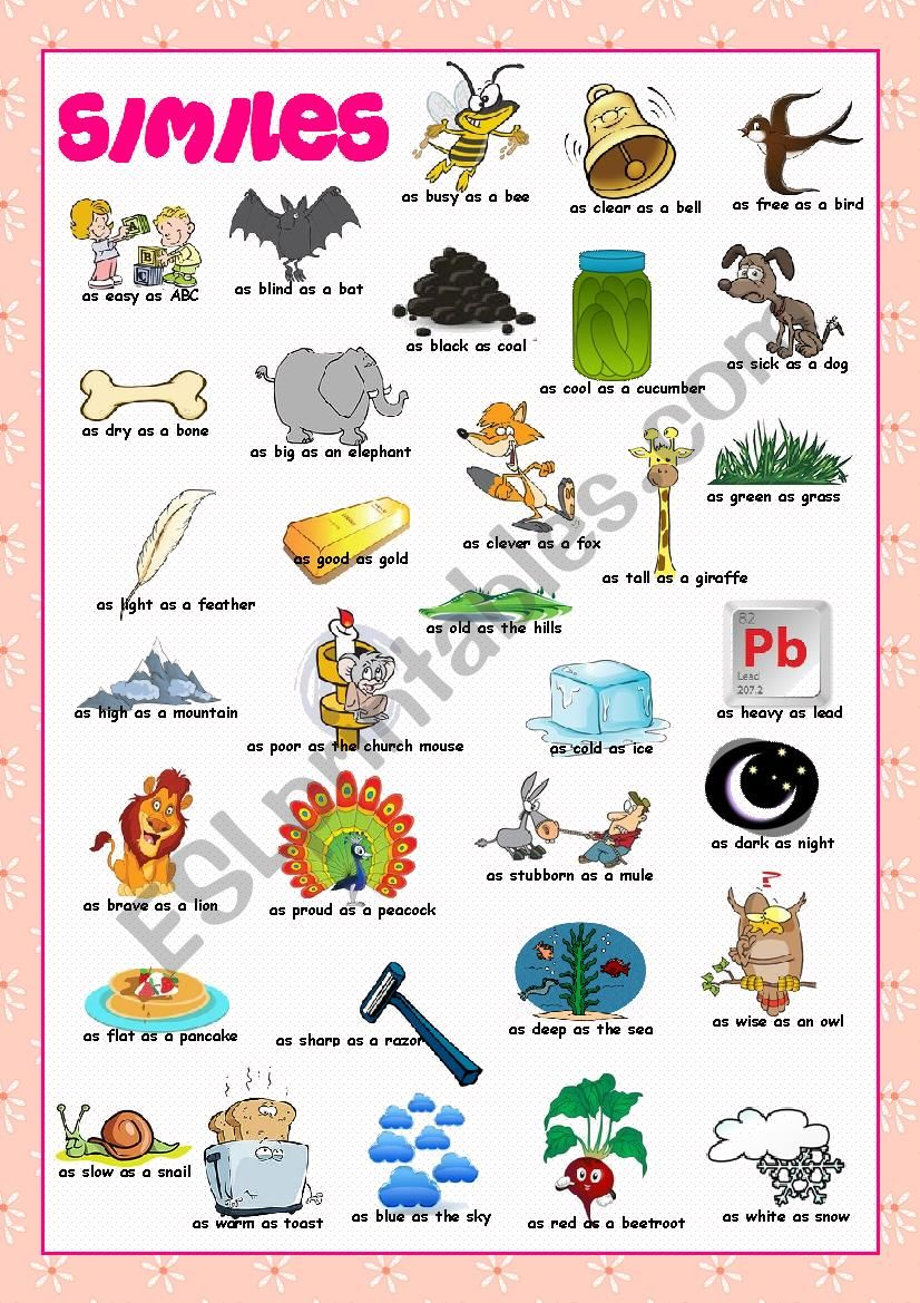 Similes Picture Dictionary worksheet