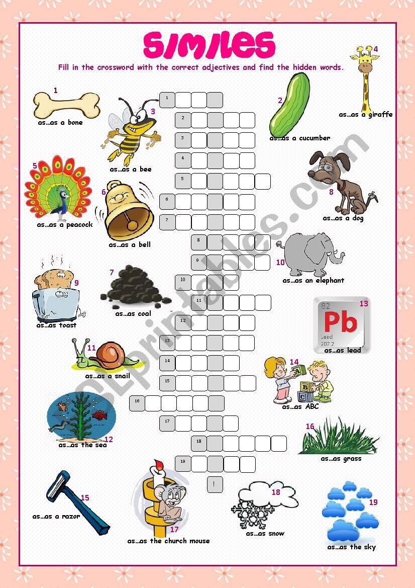 Similes Crossword Puzzle worksheet
