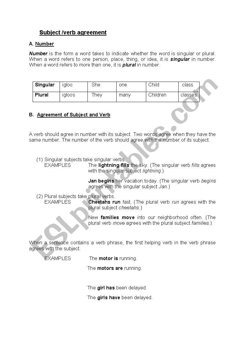Subjectverb Agreement Esl Worksheet By Reemsancil