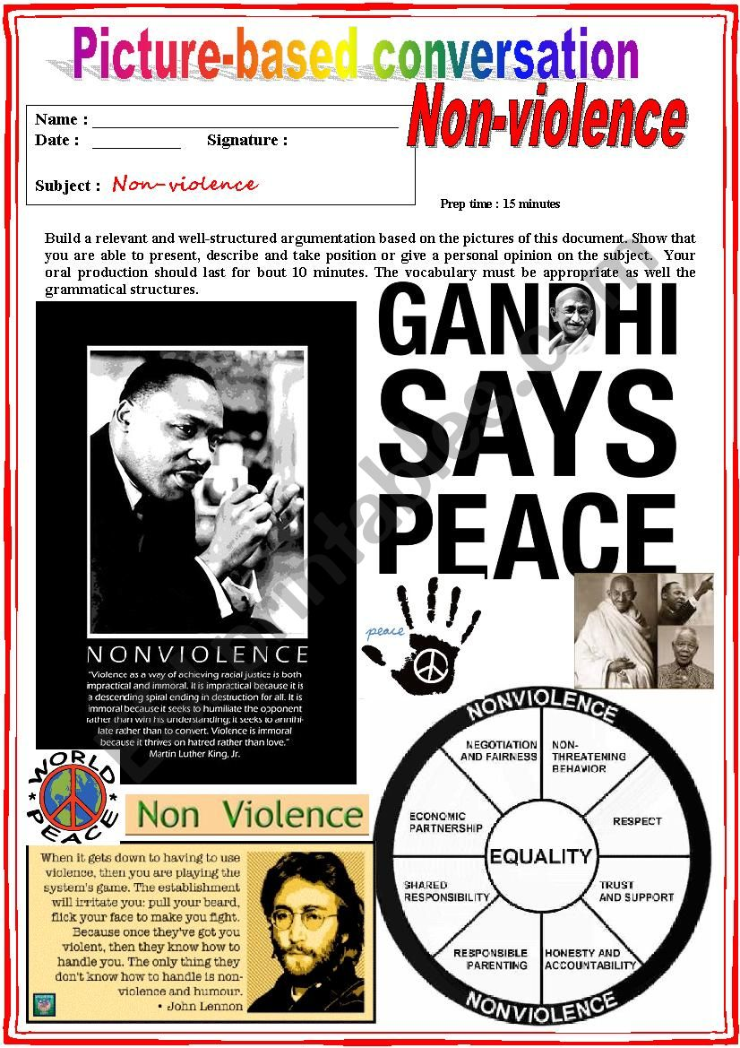 Picture based conversation.  NON-VIOLENCE. (Debating) 19/…