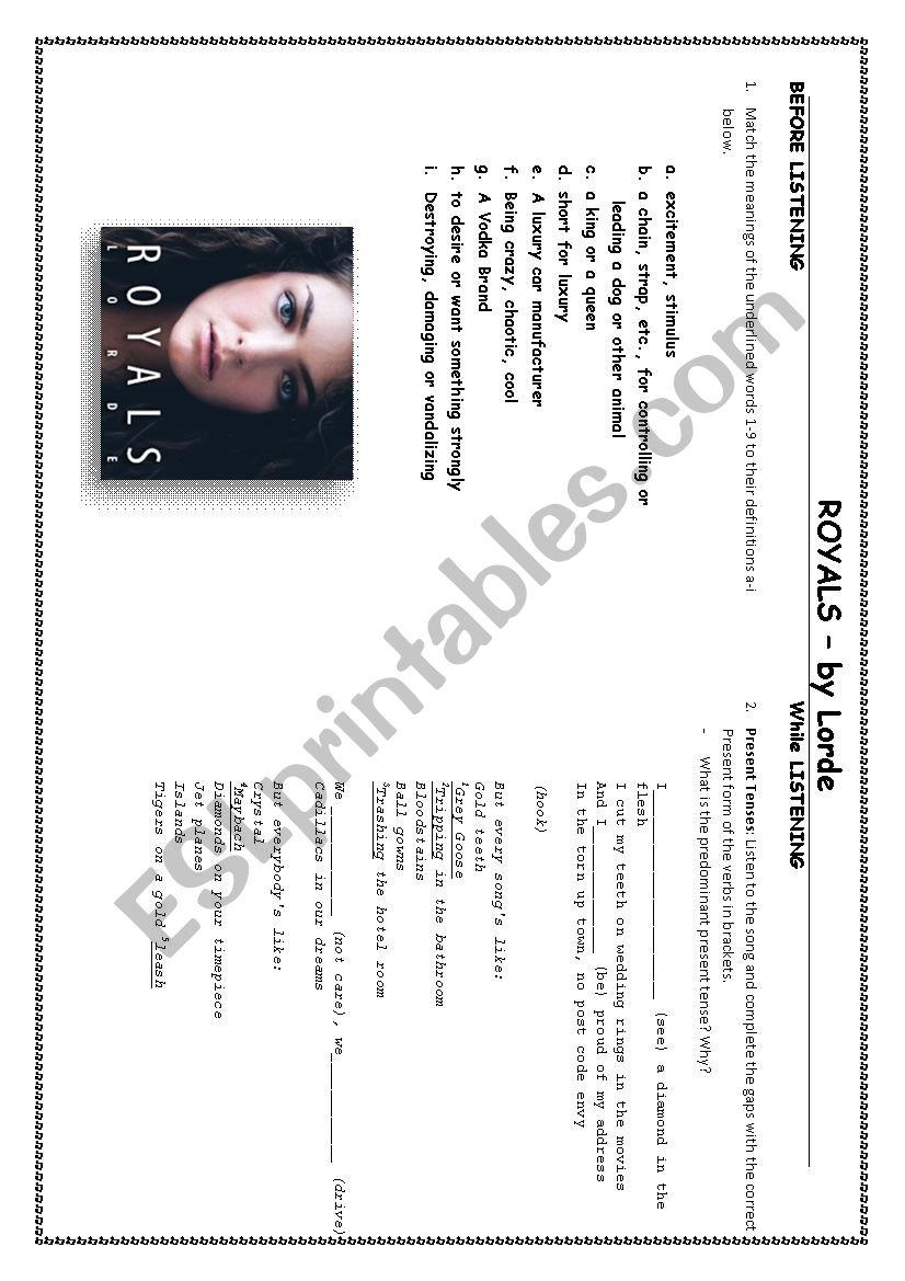 Lorde - Royals worksheet