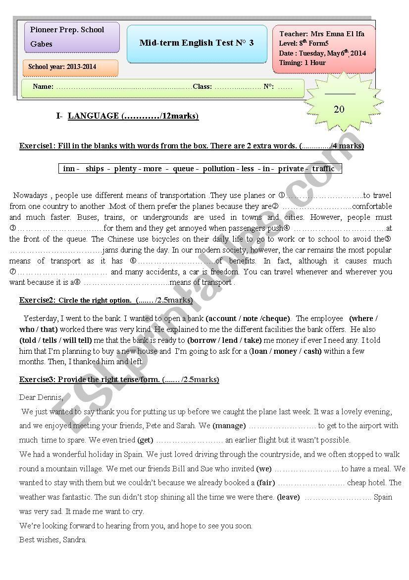 Mid-Term Test3 for graders  worksheet