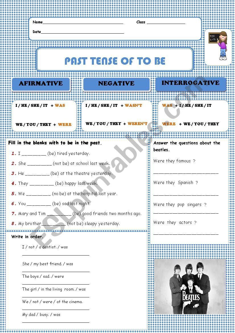 To be in the past tense. worksheet