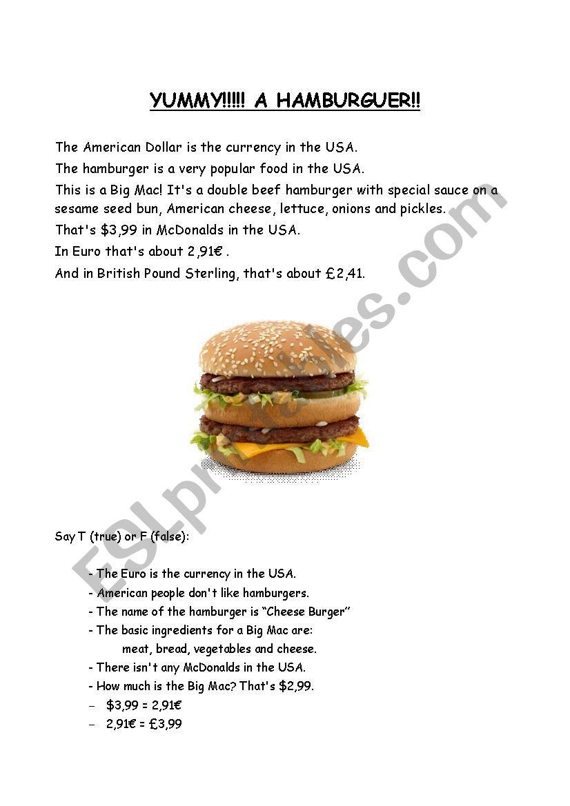 yummy! a hamburguer! worksheet