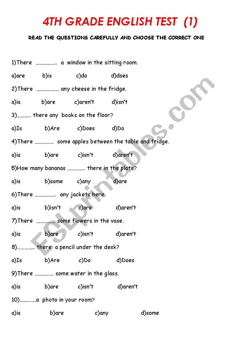 elementary level test worksheet